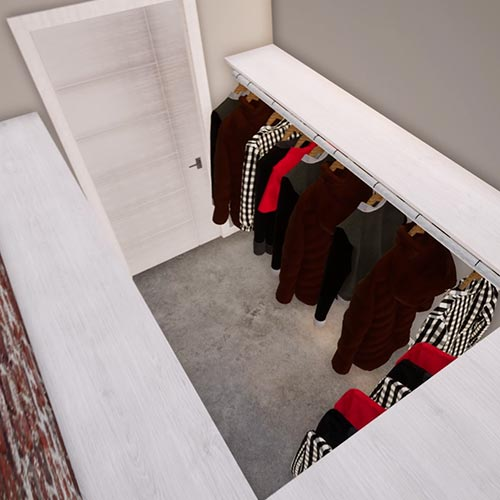 Image 8 is a top view of the walk-in closet with clothes and empty shelves above them. This closet wraps around 3 sides of the space.