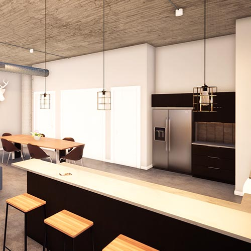 Image 2, turning to the right is the view of the living space from the corner near the bedroom entrance showing the hanging light fixtures, bar stools, ktichen counter, stainless steel refrigerator, closet doors and entrance.