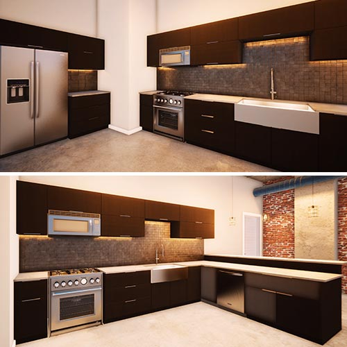 Image 5 is a combo view of the kitchen. The top image is the view to the left that shows the refrigerator, stove, and sink area with modern cabinets and a tile backsplash. The bottom image rotates the viewer to the right, the opposite corner of the kitchen where the stove and sink are still visible, but now so are the dishwasher and breakfast bar