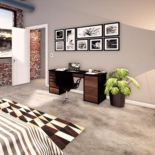 Image 7 rotates a bit to the right where the space facing the entrance includes a desk against the wall, a potted plant sitting next to it, and 8 picture frames arranged in a grid on the wall