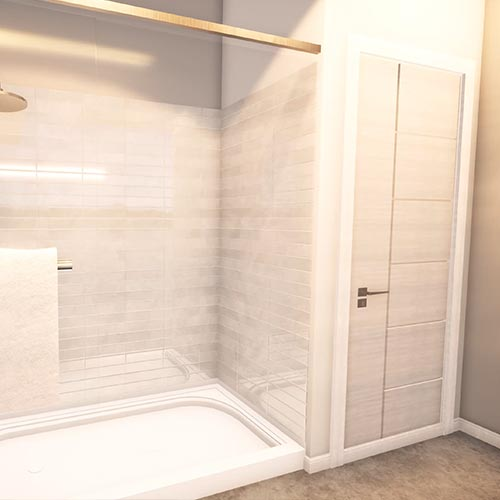 Image 9 starts the bathroom tour with a frontal view to the right side of the shower where there are build in storage cabinet with a door on the left and 6 drawers