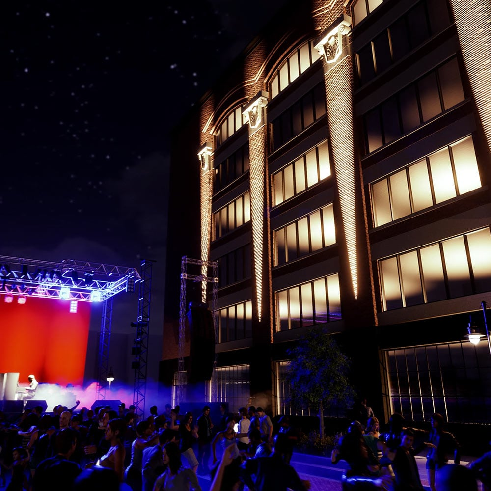 Computer rendering of an outdoor concert with people dancing on the street, this view is facing the Adams and Oak residential side of the building