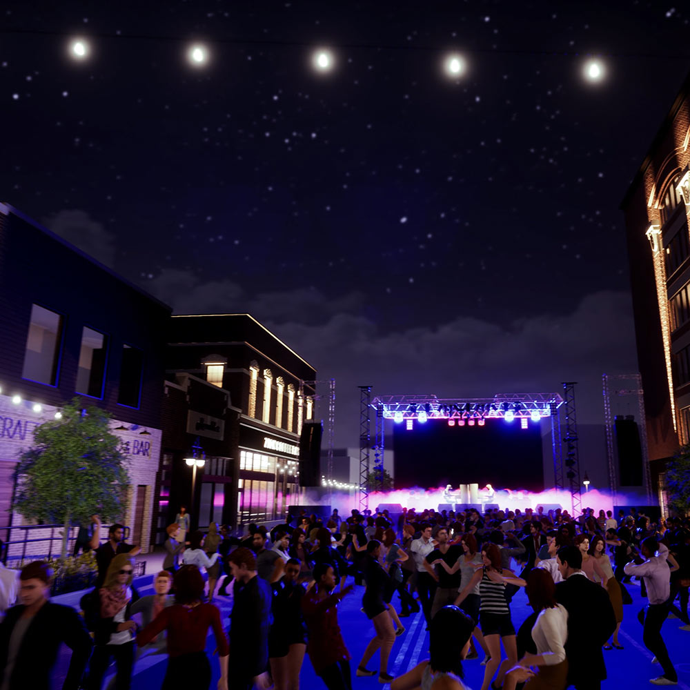 Computer rendering of an outdoor concert with people dancing in the street