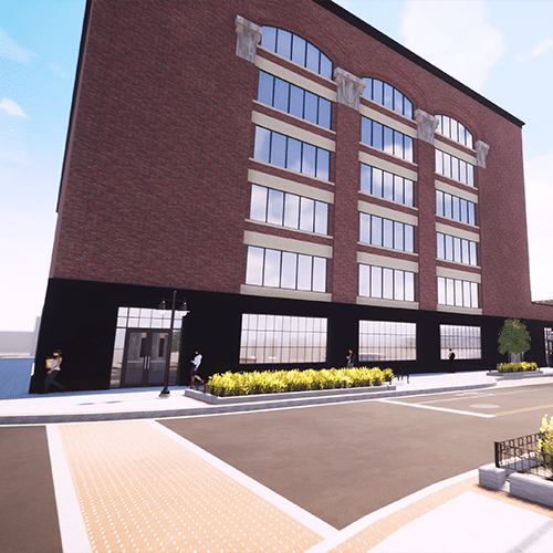Computer rendering of of the front view, again. This time the street view is from across the street and the entrance can be seen with it's double doors.