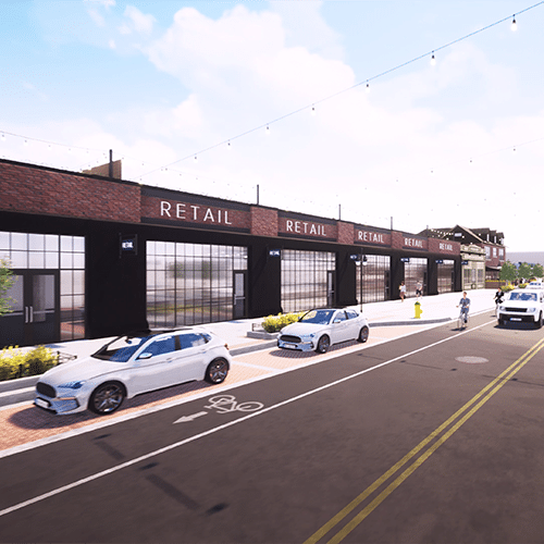 Computer rendering of the 5 potential retail spaces