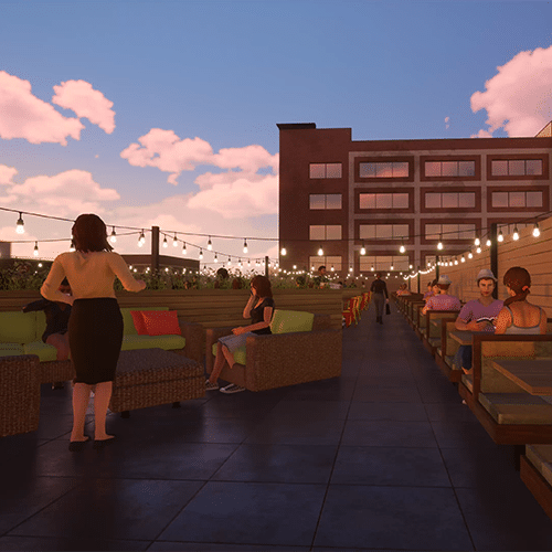 Computer rendering of people sitting and enjoying a roof top patio with lights streamers throughout