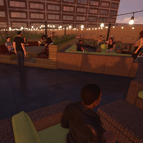 Computer rendering of people sitting and enjoying a roof top patio with booths and tables